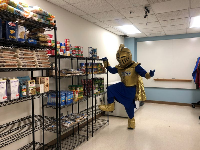 NECC Knight Mascot in Food Pantry