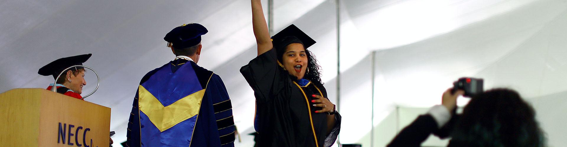 Student celebrating her graduation