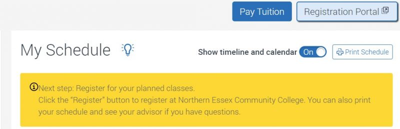"Visual of ""My Schedule"" heading and ""Registration Portal"" button above the heading. A note below to ""Click the 'Register' button to register at NECC. You can also print your schedule and see your advisor."""