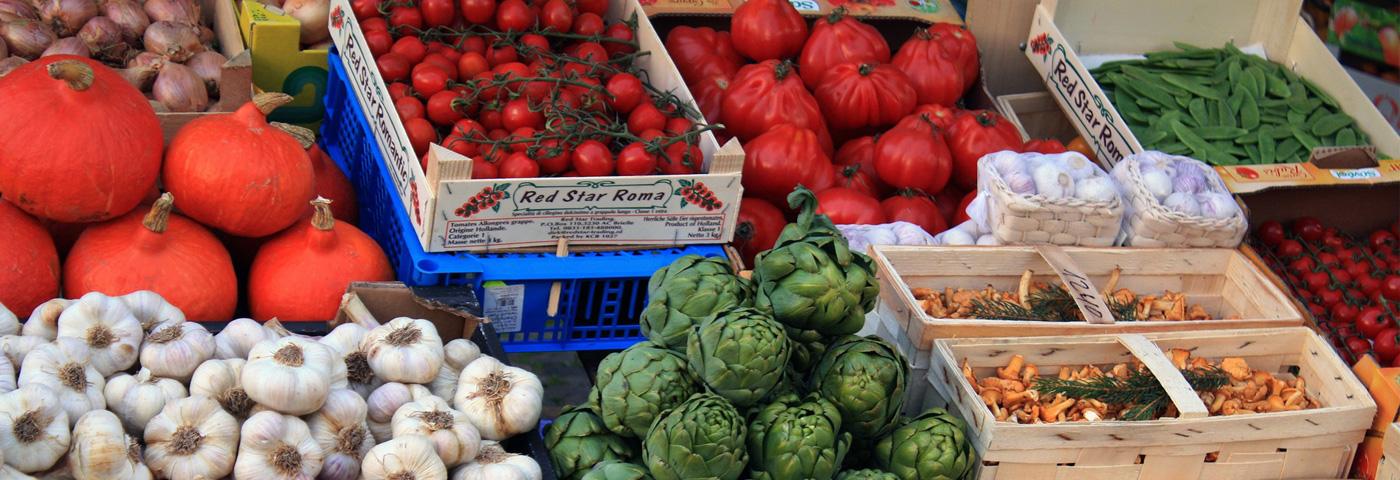 Varied vegtables in boxes