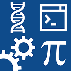 The STEM Center icon, which is made up of a DNA helix, command prompt, gears, and pi.