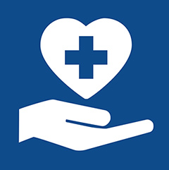 Health Professions icon: a hand holding a heart with the medical plus symbol