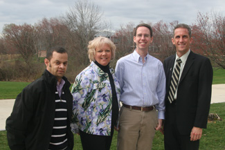 Necc employees Lenin Tejeda, Sue Pelletier, and Mike Cross, with President Lane Glenn