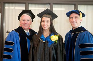 UMass Chancellor Marty Meehan, Student Commencement Speaker Cecilly Deorocki, and NECC President Lane Glenn