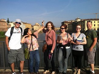 NECC Students--Luke Reynolds, Molly Canyes, Hailey Vincent, Hannah Heckman-McKenna, Nicole LeVasseur, and James McHenry--on a bridge over the Arno in Florence.