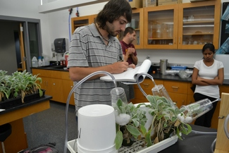 NECC Grad Steve Brown doing research at Tufts University.