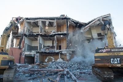 The former Lawrence Registry Building in the midst of demolition.