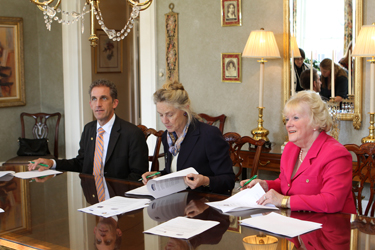 Signing the international-education articulation agreement between Middlesex and Northern Essex community colleges and Great Britain's Bath Spa University are (left to right): NECC President Lane Glenn, Bath Spa University Vice-Chancellor Christina Slade and Middlesex President Carole Cowan.