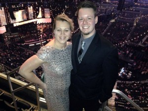 Erin and Mike Columbare at the 56th Annual Grammy Awards Show in Los Angeles last Sunday.