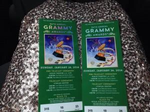 Tickets to the Grammys that Erin won through a Mix 104.1 radio contest.