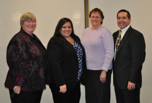 Career panelists Nancy Clover, Tori Gamble, Cindy Johnson, and Mike Woronka.