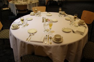 table set for business etiquette luncheon