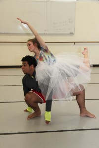 Jonathan Paredes of Lawrence and Molly Dowell of Andover prepare a dance piece for the Stillpoint Dance annual spring performance.