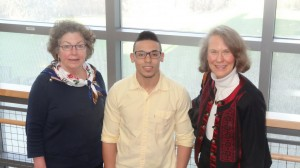 Paula Richards, NECC's service learning coordinator, Luis Disla, NECC student speaker, and Jane Thiefels, guest speaker.