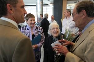 Lane Glenn, NECC president; Jean Poth, NECC vice president of institutional advancement, Audrey Dimitry of West Newbury and her husband John R. Dimitry, former president of NECC .