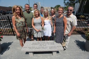 Left to right:  Ann Corey of Atkinson, NH (daughter), Matthew Goudreault of Haverhill (son), Christopher Goudreault of Haverhill (son), Mary Goudreault of Tewksbury (daughter), Steven Buturlia of Pelham (grandson), Kelsy Buturlia of Pelham (granddaughter), Barbara Goudreault of Haverhill (daughter), Julie Reynolds of Middleton, NH (daughter), and Patrick Goudreault of Haverhill (son).