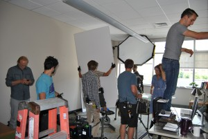 The Van Wormer International movie crew transformed NECC rooms into a doctor's office and DNA lab.