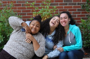 From the left to right NECC student actors Erika Tejada, Kiara Pichardo, and Stephanie Bisono of Lawrence.