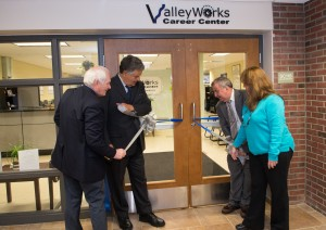 George Moriarty, NECC's director of workforce development and corporate relations; Haverhill Mayor Jim Fiorentini; Arthur Chilingirian, executive director of ValleyWorks Career Center; and Dawn Beati, career center manager, ValleyWorks.