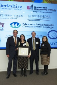 Lance Hartford, executive director of MassBioEd Foundation; Marguerite White-Jeanneau, professor of natural sciences; Bill Heineman, vice president of academic and student affairs; and Carolyn Cohen-Knoepfler,PhD, Acting Assistant Dean of Math and Science.