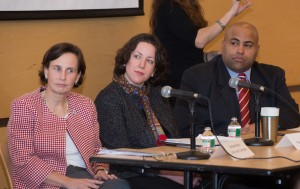 (Left to right) Representative Linda Dean Campbell, Senator Kathleen O'Connor Ives, and Lawrence Mayor Dan Rivera discussed the state of higher education in Massachusetts and what it means for the NECC community.