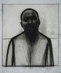 "John Wilson's ""Martin ZLuther King Jr."" etching and aquaint with chine colle' is displayed in the ArtSpace."