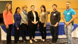 Brittany Anzalone, Gladys Martinez, Ellen Small Davis, Reanne Malesky, Bel Andrickson, Tim Field, and Matt Tascon were part of an NECC Alumni that spoke to student in the NECC Internship program.