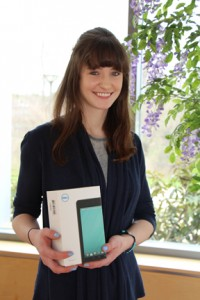 Emily Zinsmeister received a Dell Tablet donated by Dell, Inc. for her award winning English Composition I essay.