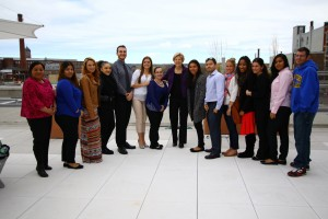 U.S. Senator Elizabeth Warren (center in photo) visited with NECC students for a discussion of college affordability.