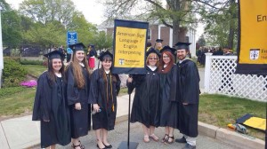 Six of the seven NECC alumni who graduated from Framingham State's bachelor's in American Sign Language-English Interpreting.  Matt, I'm going to see if I can find ID's on the photo.