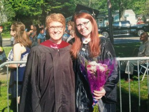 Graduate Samantha Smith (right in photo) celebrates with her Professor, Luce Aubry.