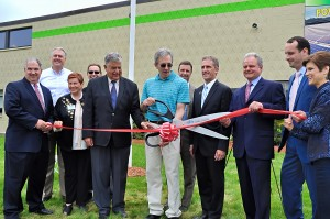 Shown left to right in photo:  David Gingerella, NECC vice president of administration; Matt Shortsleeve, Select Solar; Jean Poth, NECC vice president of institutional advancement; Paul Chanley, chair, NECC Engineering Dept; James Fiorentini, mayor of Haverhill, Peter Schwarz, owner Leewood Realty; Keith Sampson, Competitive Energy Services Lane Glenn, NECC president; Dennis Marcelo, district director of the office of State Senator Kathleen O'Connor Ives., Zack Bloom, Competitive Energy Services; and Stacey Bruzzese, president/CEO, Greater Haverhill Chamber of Commerce.