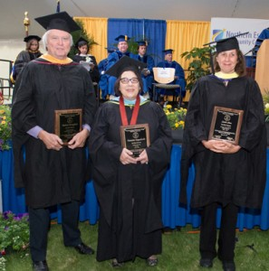 Retirees Michael Broughton, Francine Pappalardo, and Linda Hummel-Shea received the honor of emeritus status during NECC's 53rd commencement exercises in May.