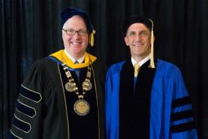 Merrimack College President Christopher Hopey and NECC President Lane Glenn.