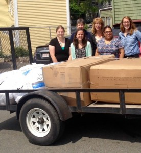From Left to Right: Emmaus House staff members accepted 100 pillows donated by the Northern Essex Community College Human Services Club. Front (l to r) Leah Schenkel, Kaleigh Timmins, and Nancy Rusk. Back row, Helen Houle, Gelenni Garcia, and Katie Berry.