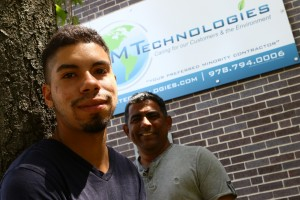NECC Engineering major Dimitrius Gonzalez (left in photo) is the first recipient of the RM Technologies Engineering Scholarship presented by Rafael Guzman.