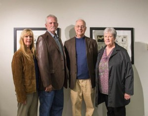 """Shown left to right in photo are Gail Hayden, Mark Hayden, Gerry Peary, writer and director of """"Archie's Betty"""" and Robin Hayden. The late Charlie Hayden, father of Gail, Mark, and Robin was prominently featured in """"Archie's Betty."""""""