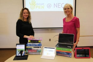 Text Book Task Force co-chairs Jody Carson (left) and Sue Tashjian sow some of the sources available through Open Educational Resources (right) as well as books