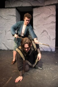 Christian Doyle of Newburyport takes on the role of Edgar and Daniel Burns of Methuen is Edmund on the Northern Essex Community College production of King Lear presented next month in the Chester W. Hawrylciw Theater on the third floor of the Spurk Building on the Haverhill campus.