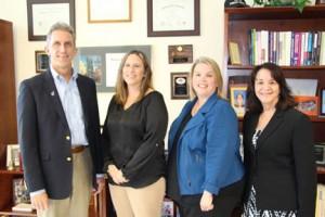 NECC President Lane Glenn with Employee Recognition Winners Allison Gagne, Tina Favara, and Dianne Lahaye.