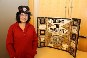 "Rachael Sarcione presented her Honors Experience poster ""Fueling the Mosh Pit"" during the honors poster session."