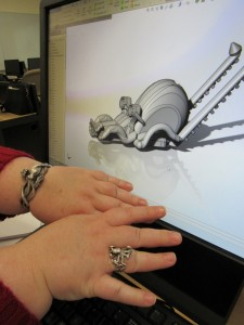 Elizabeth Lee, 45, of Peabody, CAD Certification student, with her octopus-inspired car design