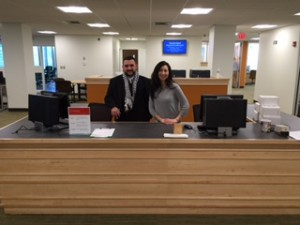 Library staff assistant Fred Curty and assistant librarian Susan Leornadi will great students at the central desk in the new computer lab on the second floor of the Bentley Library.