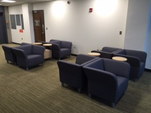 New chairs provide extra seating for students looking read, study, or relax.