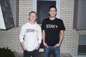 NECC student Cjay DiPrima (left) and childhood buddy Tom Mullin, who attended formerly NECC, are the founders of Stay Positive Apparel.