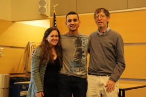 Professor Meredith Gunning, Anthony Delgado, recipient of the NECCPA Scholarship, and Professor Steve Slaner.