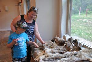 NECC's Tina Favara and son Lucca examine the animal pelts on display at Quarrybrook.