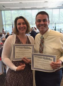 NECC professors Isabelle Gagne and Scott Joubert were the recipients of the 2016 Massachusetts Community Colleges Online (MCO) Course of Distinction (COD) Award.