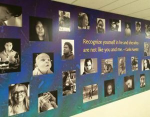 """Diversity"" is one of two new murals hanging in the Dimitry Building on the Lawrence Campus. this was part of a service learning project created by NECC digital photography students."
