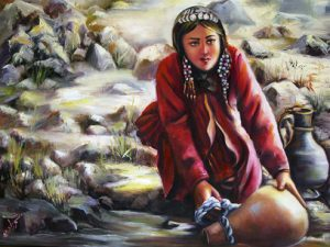 """""""Kurdish Girl"""" is one of the 13 oil-on-canvas pieces in Shahrzad Shadbash's exhibit opening November 2 in NECC's ArtSpace."""